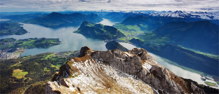 Mount Pilatus at Lake Lucerne in Central Switzerland