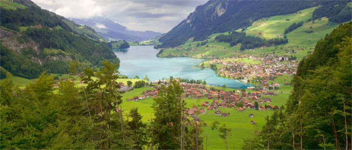 Lake in the mountains in the Canton of Fribourg