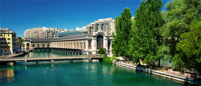 The Rhone issues into Lake Geneva in Geneva