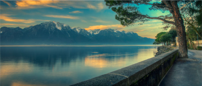 Lake Geneva with a view of the French Alps