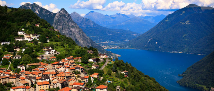 The town Lugano above Lake Lugano
