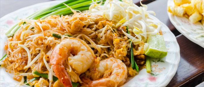 Thai food with noodles and shrimps