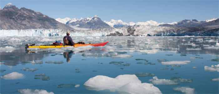 Kayaking between glaciers and ice floes
