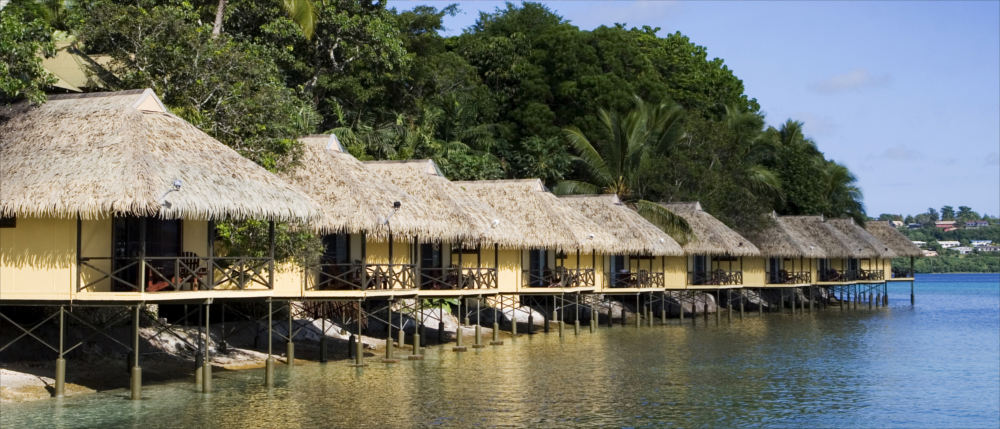 Vanuatu's huts at the seaside
